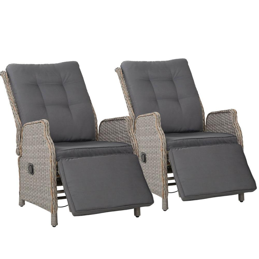 2 x Recliner Chairs Sun lounge Wicker Sofa Grey - Housethings
