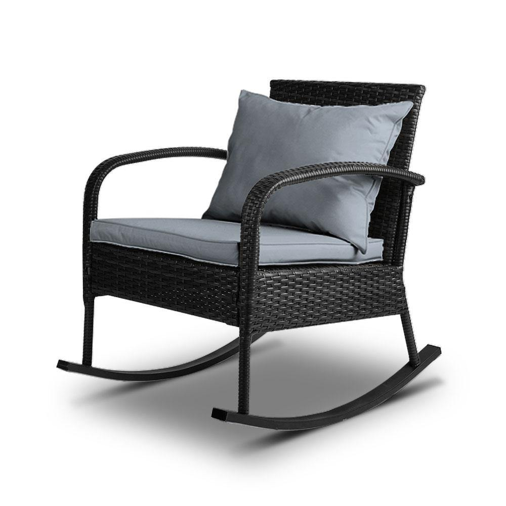 Rocking Chair Wicker Lounge Setting Black - Housethings