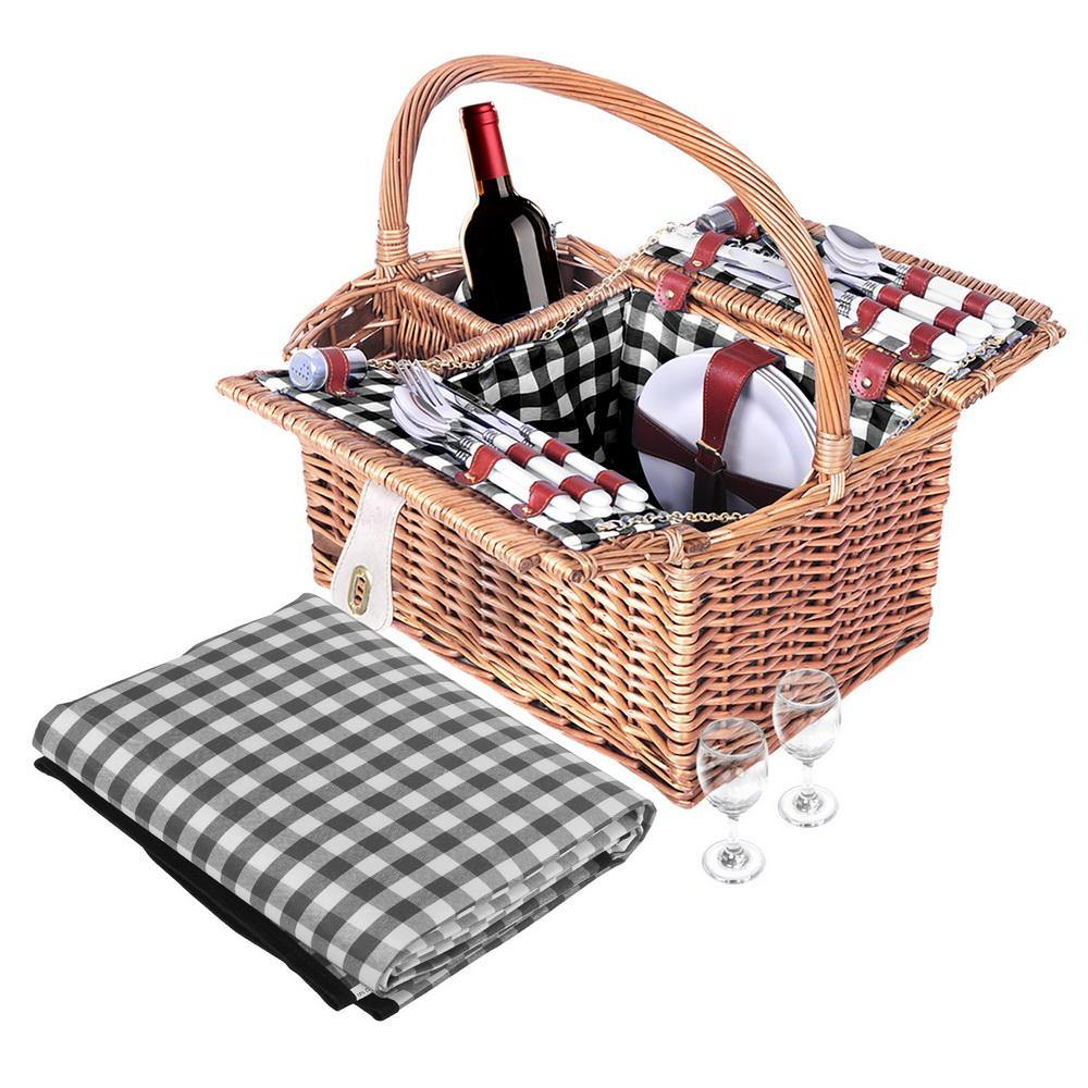 Alfresco Picnic Basket 4 Person Insulated Blanket - Housethings