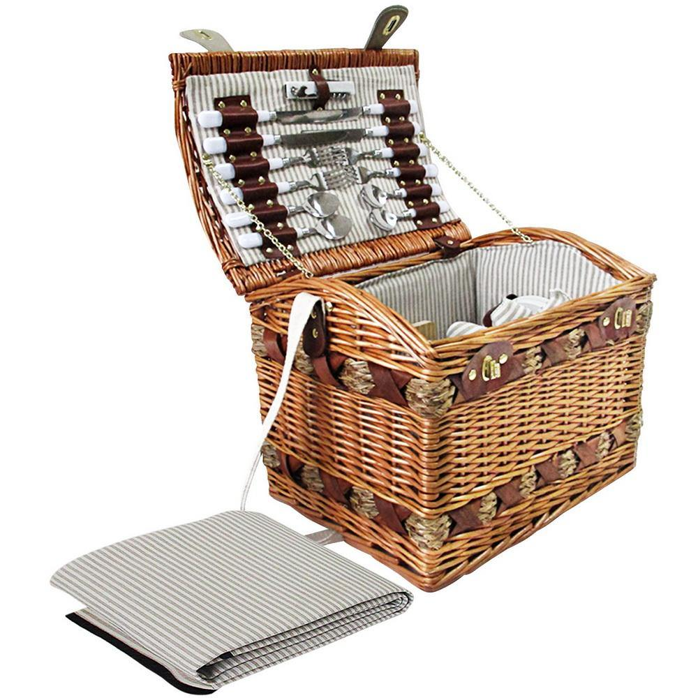 4 Person Picnic Basket Baskets with Blanket - Housethings