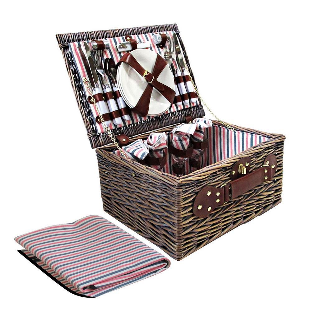 4 Person Picnic Basket with Blanket - Housethings