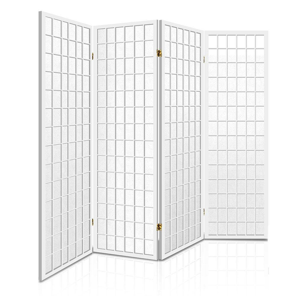 4 Panel Wooden Room Divider - White - Housethings