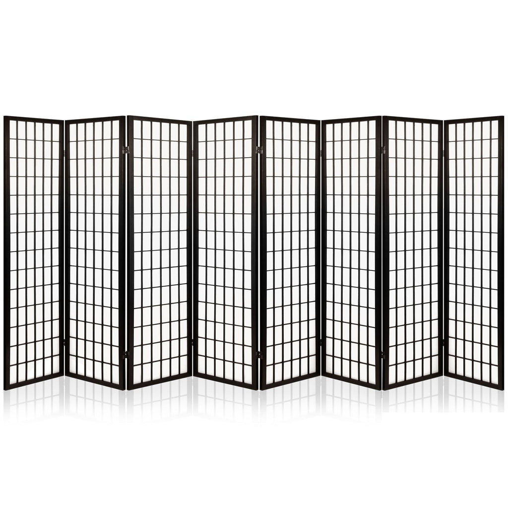8 Panel Privacy Screen Room Divider  Vintage Black - Housethings