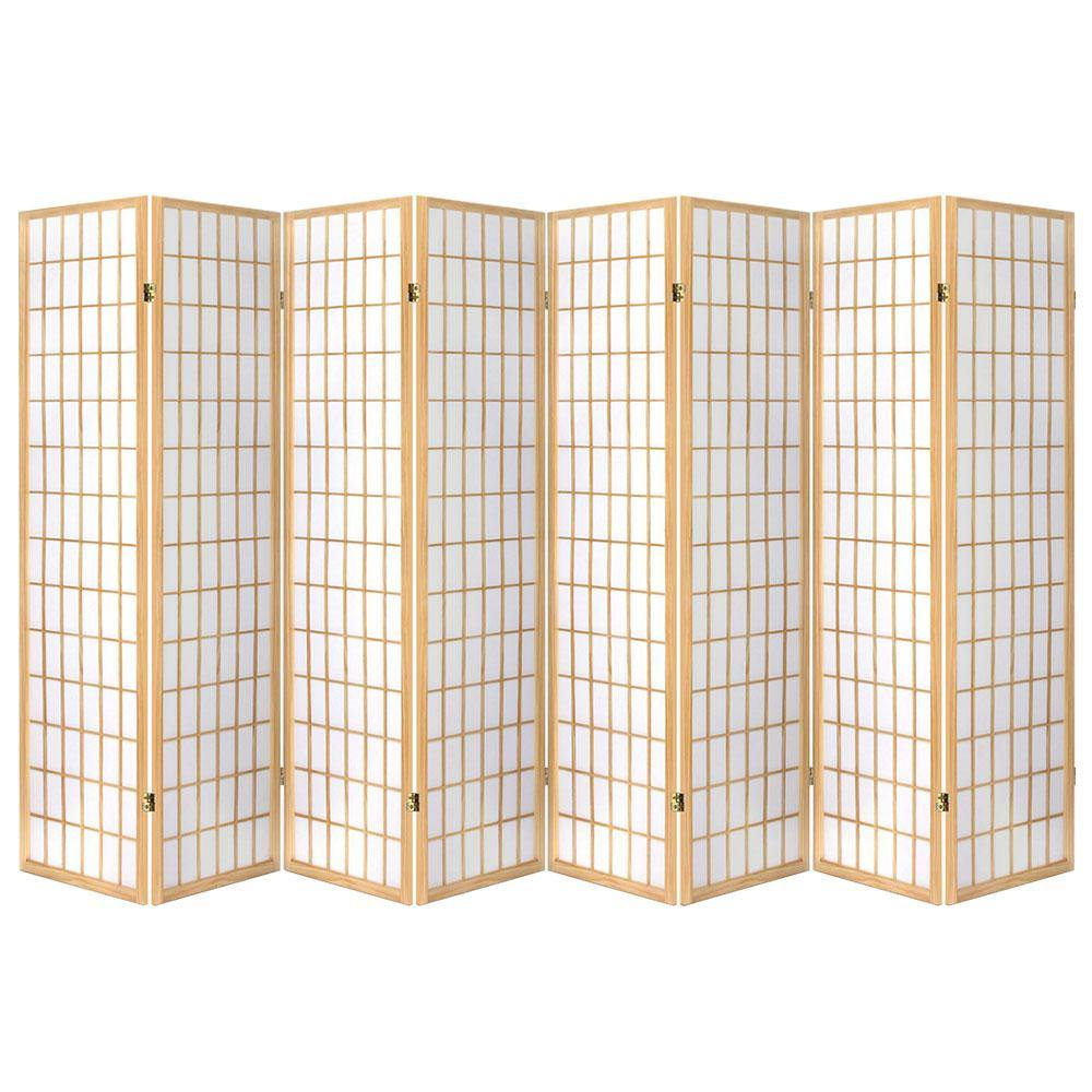 8 Panel Privacy Screen Room Divider Oriental Natural - Housethings
