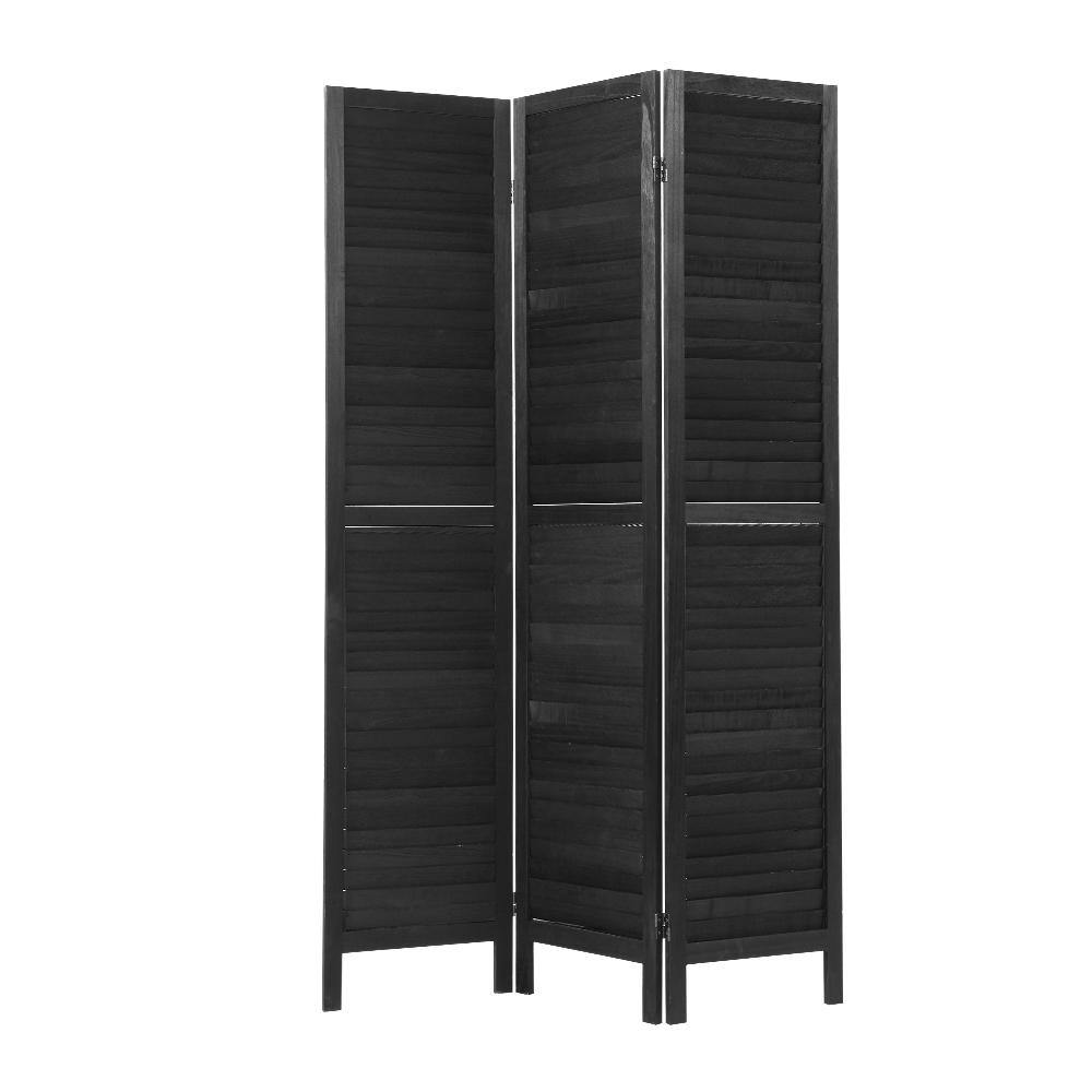 3 Panel Room Divider Privacy Screen Black - Housethings