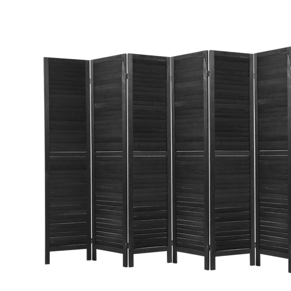 6 Panel Room Divider Privacy Screen Wood Black - Housethings