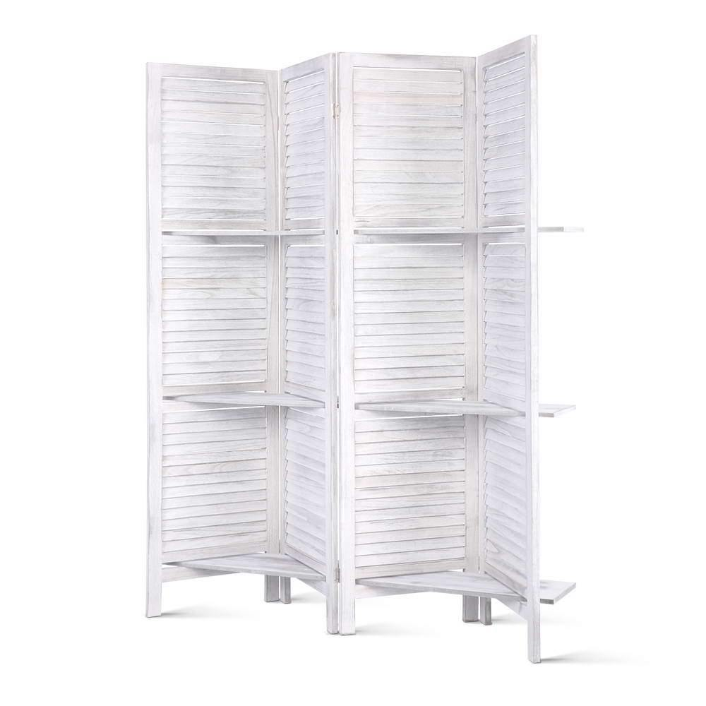 Room Divider Privacy Screen Foldable Partition Stand 4 Panel White - Housethings