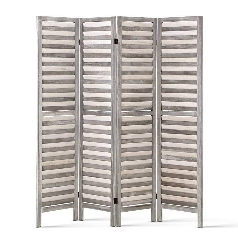 4 Panel Foldable Wooden Room Divider - Grey - Housethings
