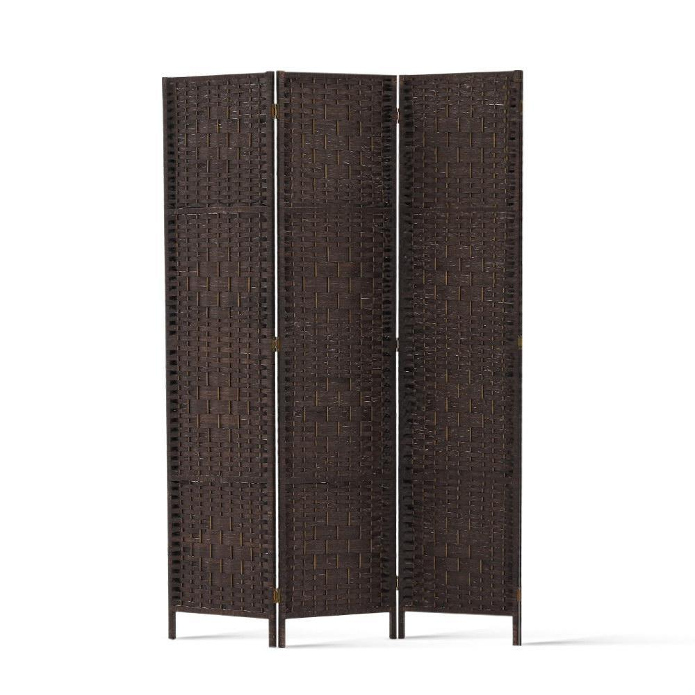 3 Panel Privacy Screen Rattan Brown - Housethings