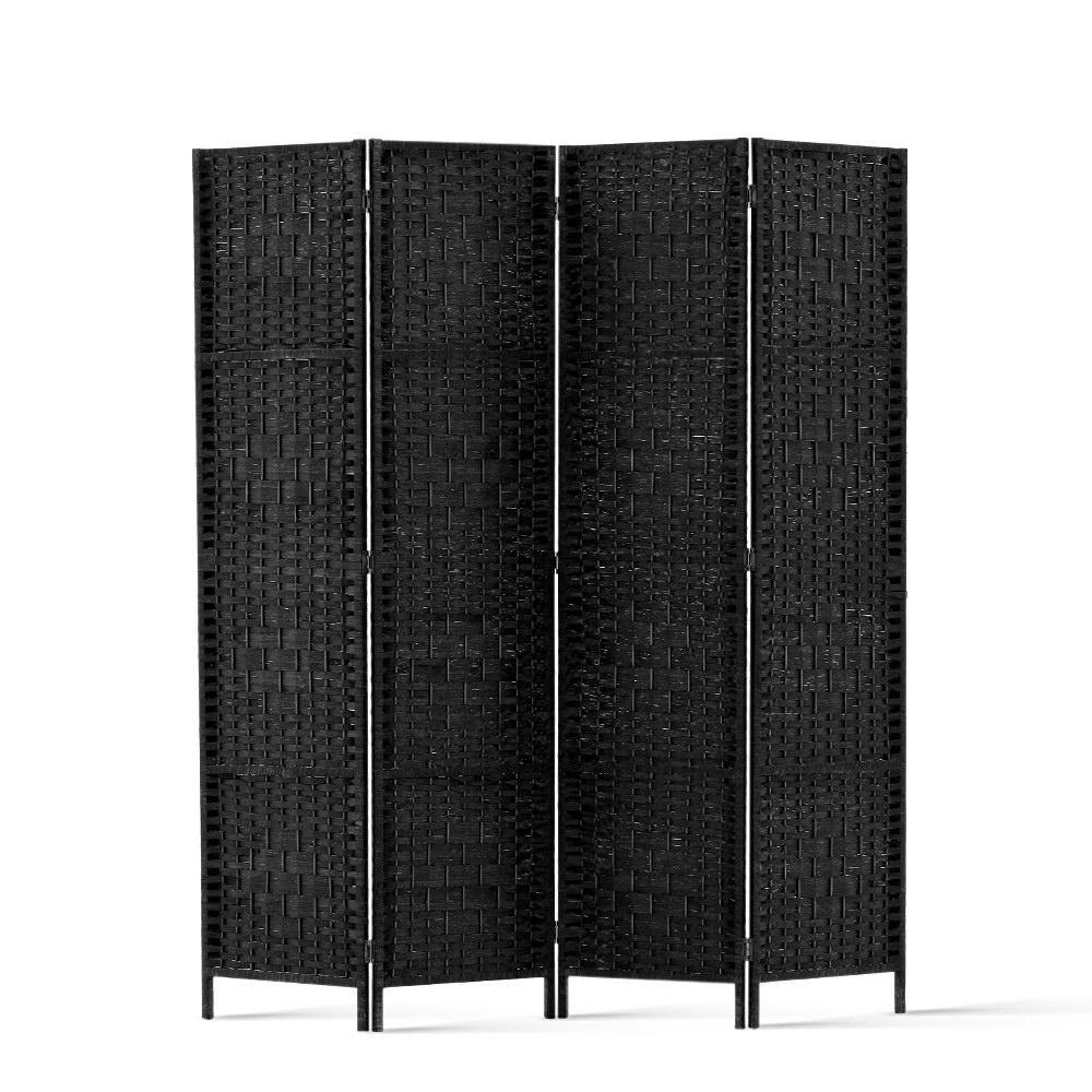 4 Panel Room Screen Rattan Woven Black - Housethings
