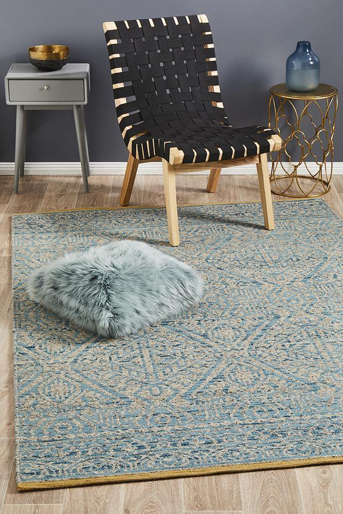 Relic Hunter Blue Grey Rug - Housethings