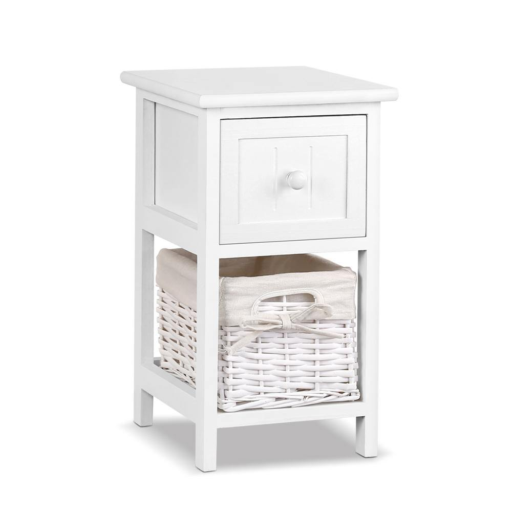 2 PCS Ariss Bedside Table - White - Housethings