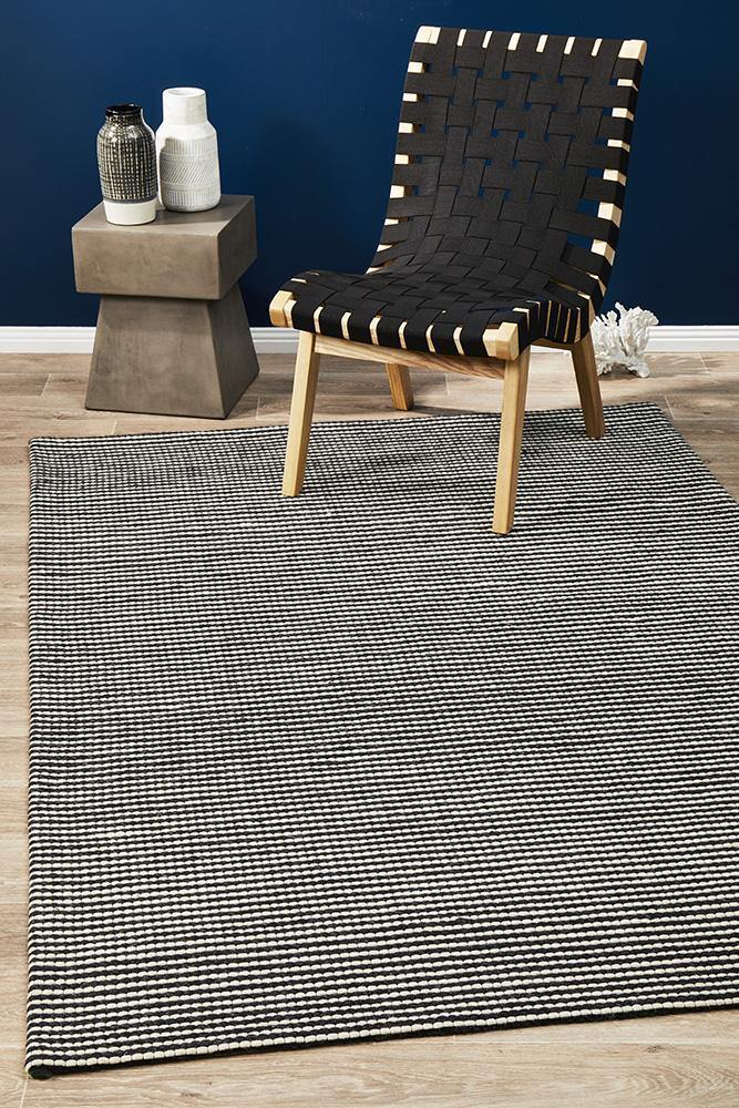 Studio Oskar Felted Wool Striped Rug Black White - Housethings
