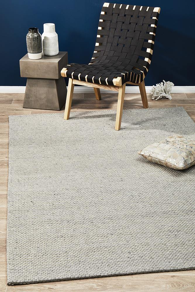 Wonderwall Tessa Felted Wool Striped Rug Grey - Housethings