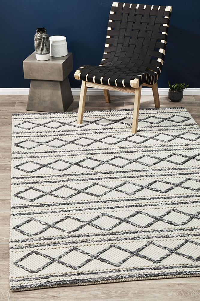 Studio Milly Textured Woollen Rug White Grey - Housethings