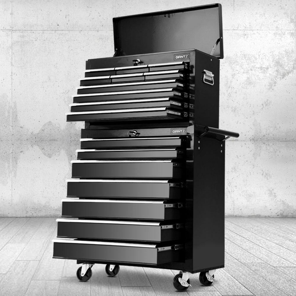 17 Drawers Tool Box Trolley Chest Cabinet Cart Garage Mechanic Toolbox Black - Housethings