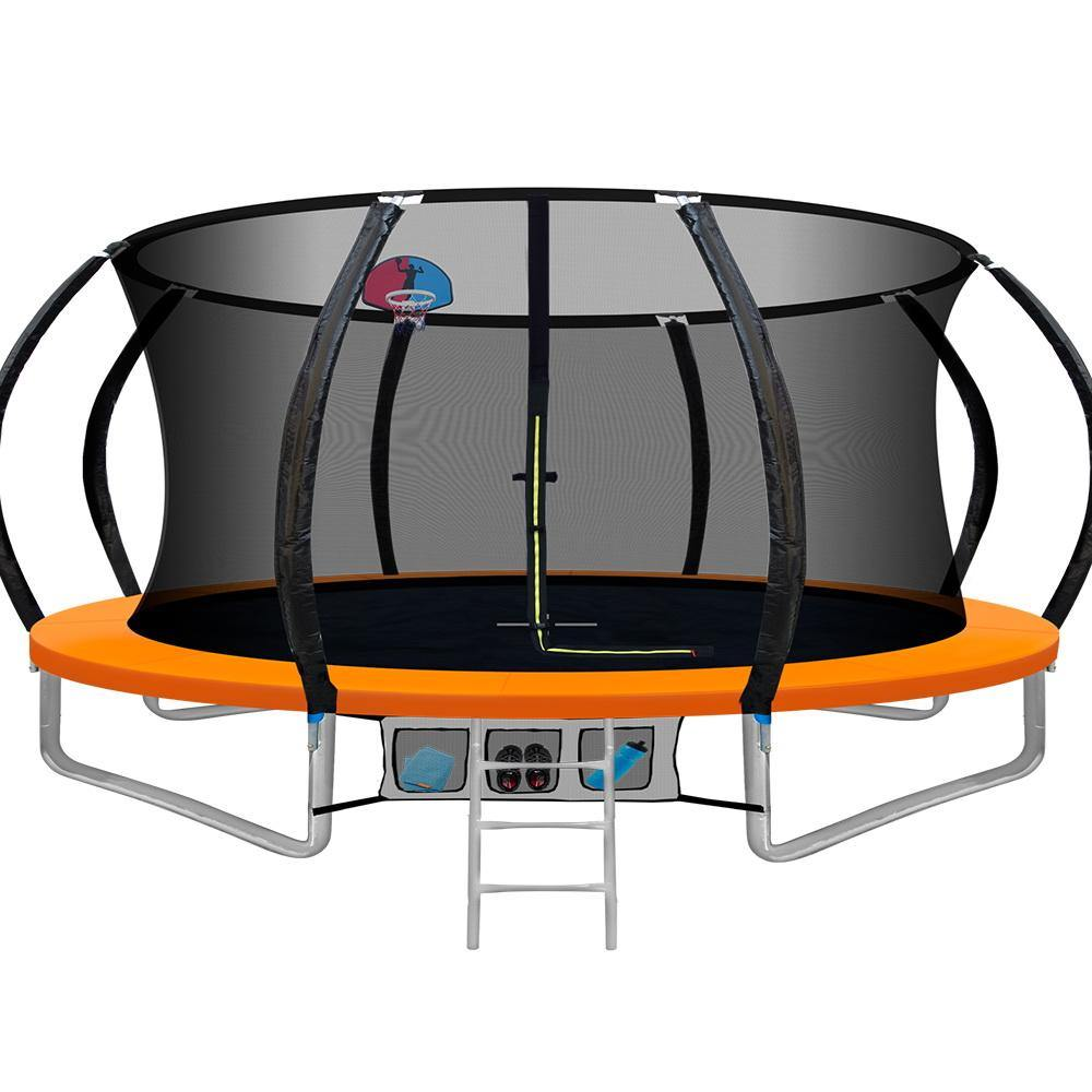 14FT Trampoline Round Trampolines With Basketball Hoop Kids Present Gift Enclosure Safety Net Pad Outdoor Orange - Housethings