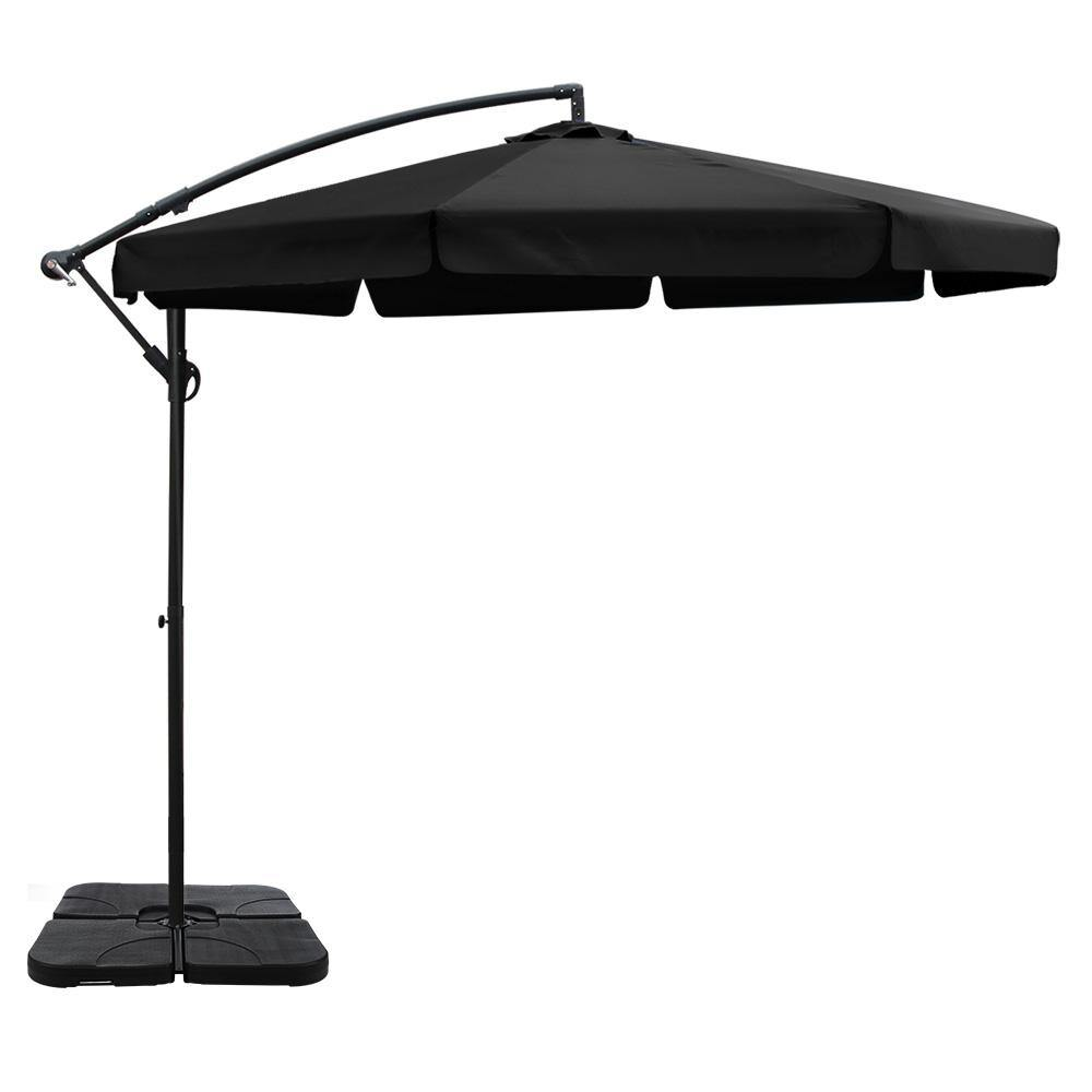 3M Umbrella with 50x50cm Base Sun Beach UV Black - Housethings