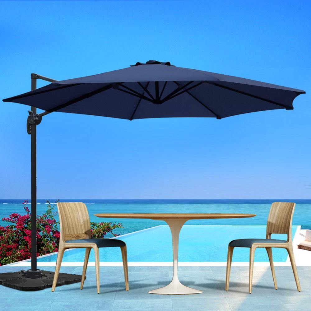 3M Outdoor Furniture Garden Umbrella 360 Degree Navy - Housethings