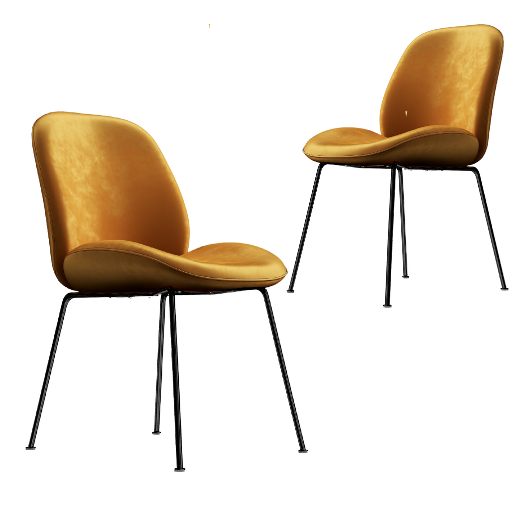 2 x Golden Velvet Dining Chairs - Housethings