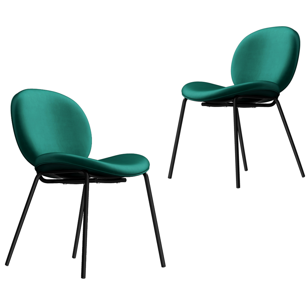 Deep Green Velvet Dining Chair x 2 - Housethings