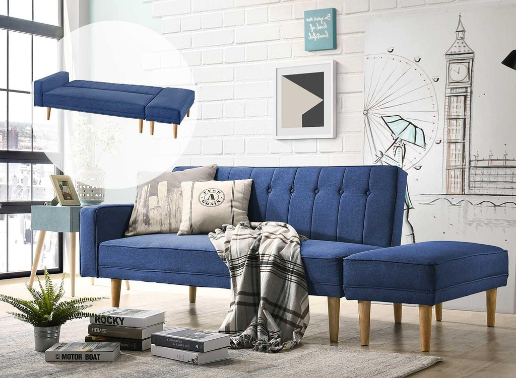 Jameson 3 Seat Sofa Bed with Ottoman - Blue - Housethings