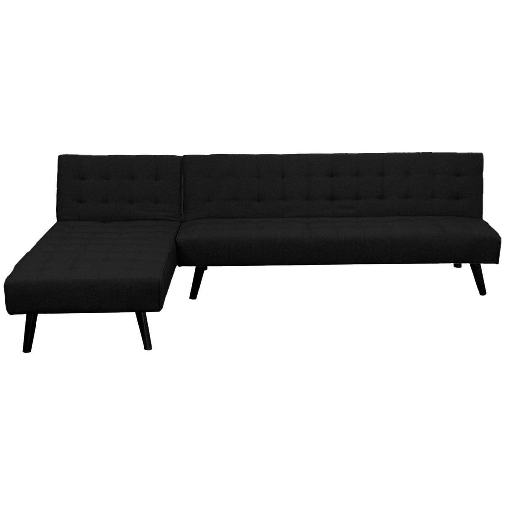 Robinson 3-Seater Corner Lounge Bed - Black - Housethings