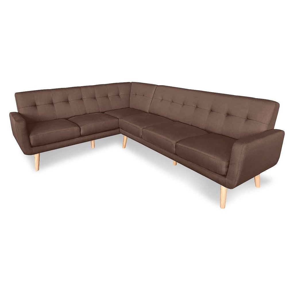 Laverne Corner Lounge L-shaped Wooden legs Brown - Housethings