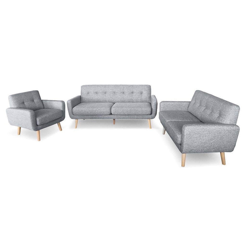 Marley 3 piece Lounge - Light Grey - Housethings