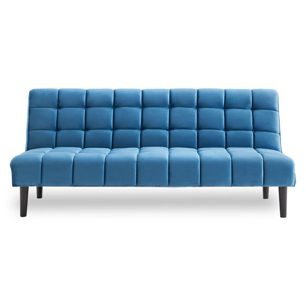 Cushioned Blue Suede Lounge Bed - Housethings