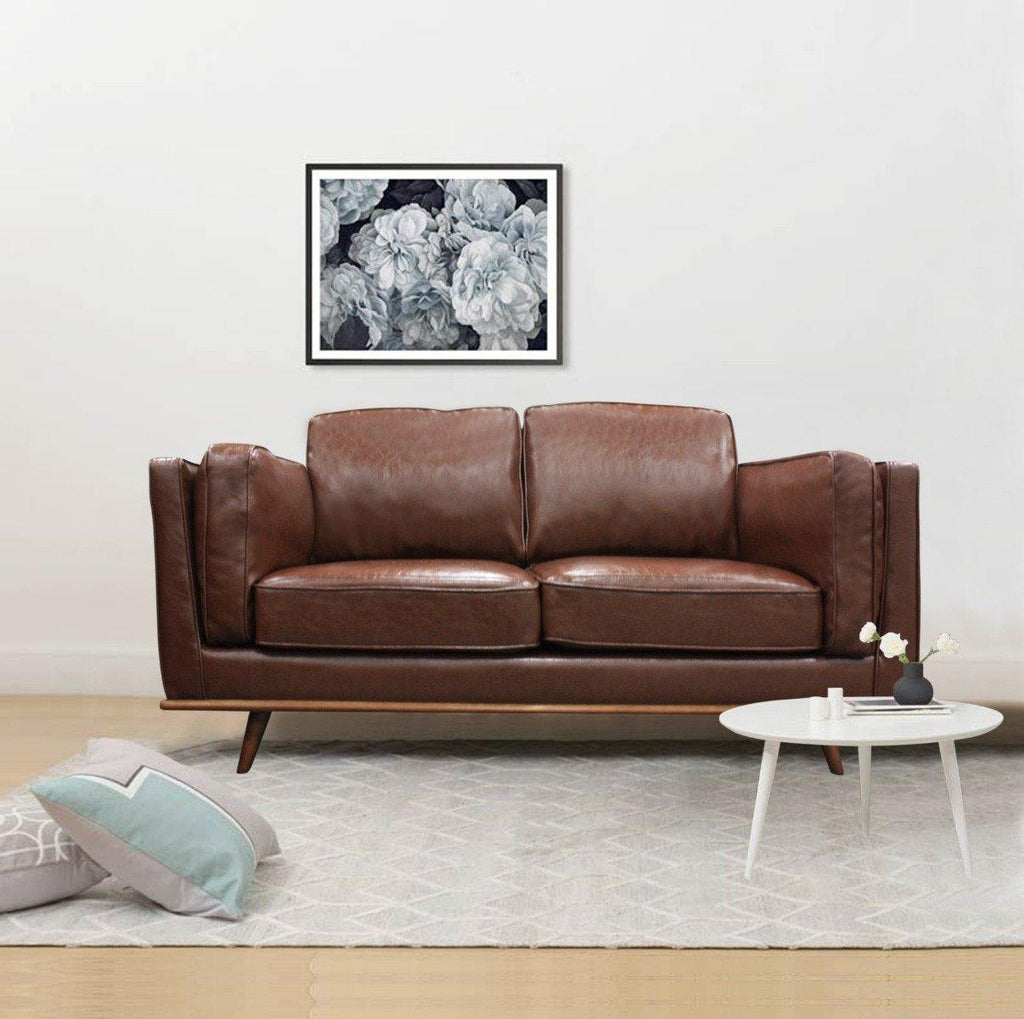 2 Seater Stylish Leatherette Brown Maddison Sofa - Housethings