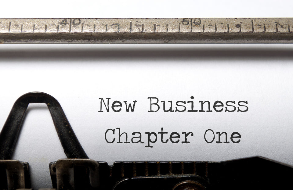 New business chapter one text typewriter