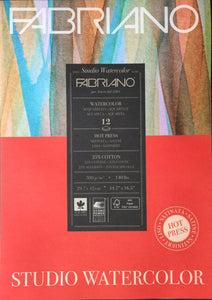 Fabriano Studio Watercolour Pad A3 - HOT PRESS - 300gsm (25% cotton)