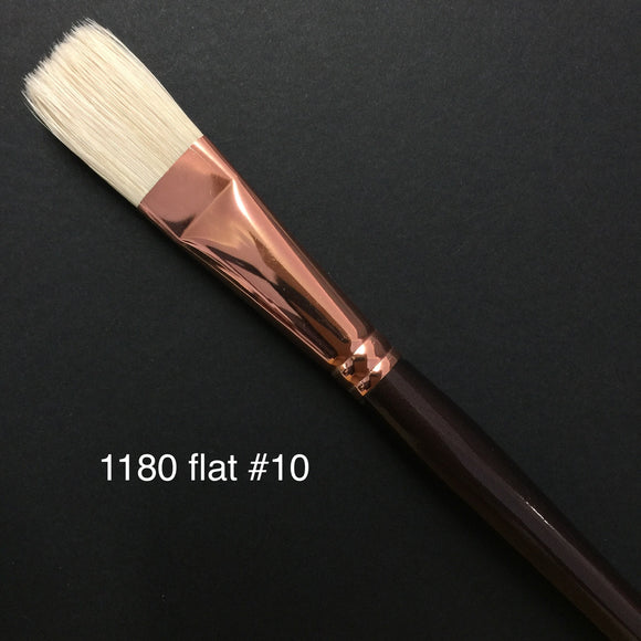 1180 Hog Taklon Flat Brush - #10