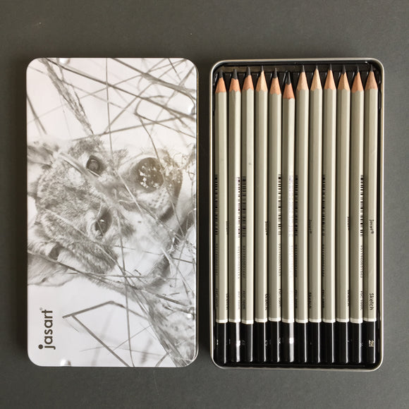 Jasart: Graphite Sketch Pencils tin -Set of 12