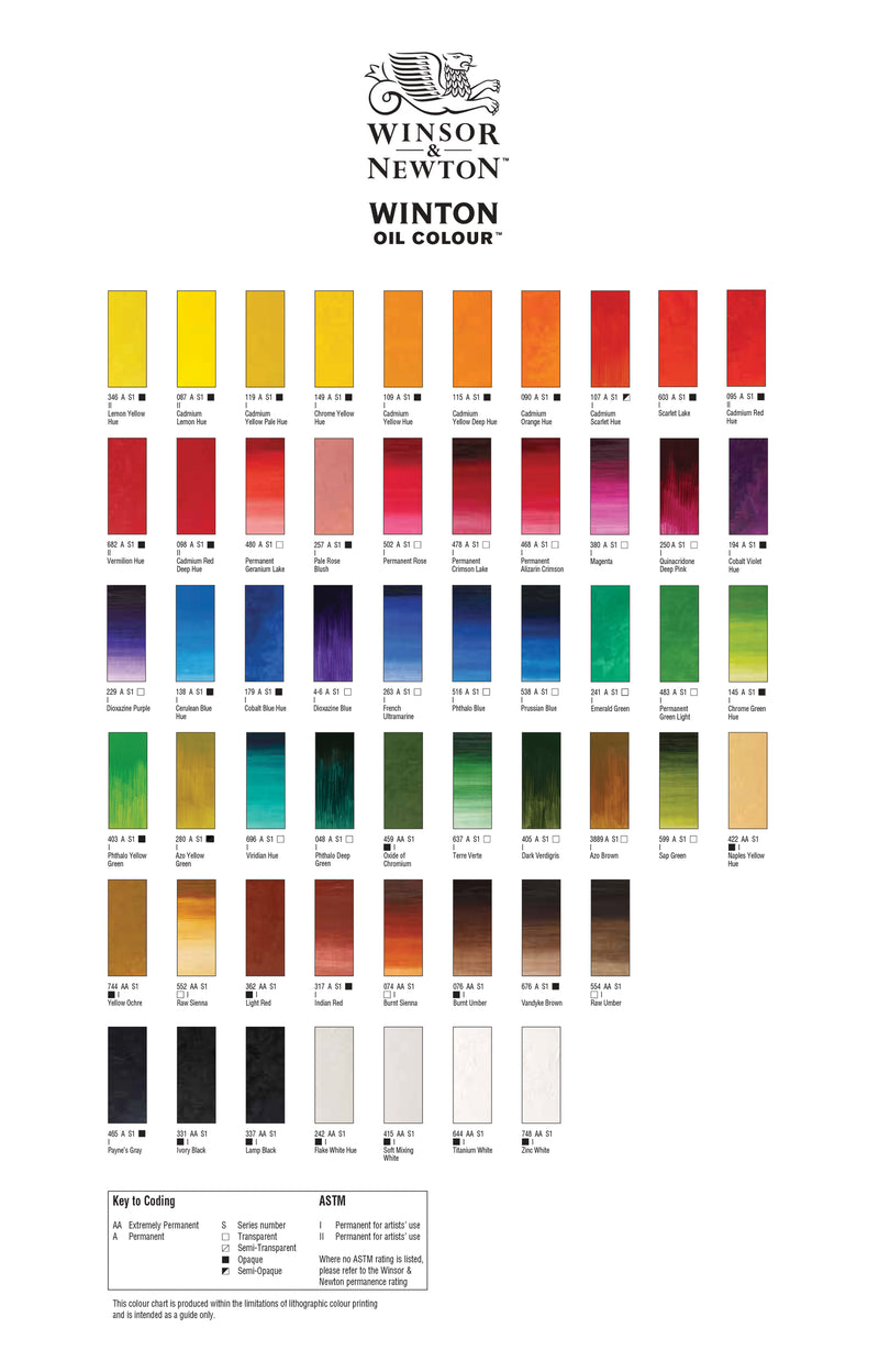Winsor & Newton Winton Colour Chart