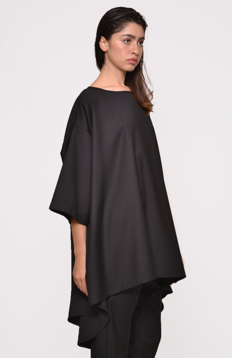 Poly Tencel Drape Back Top