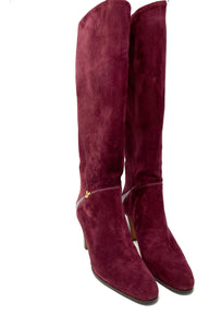 Gucci boots, burgundy suede, knee-high with Gucci logo, size 38.