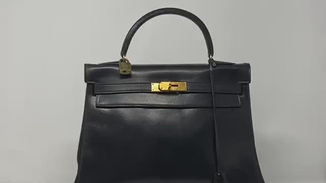 hermes kelly bag, vintage, black box leather, with lock and key.