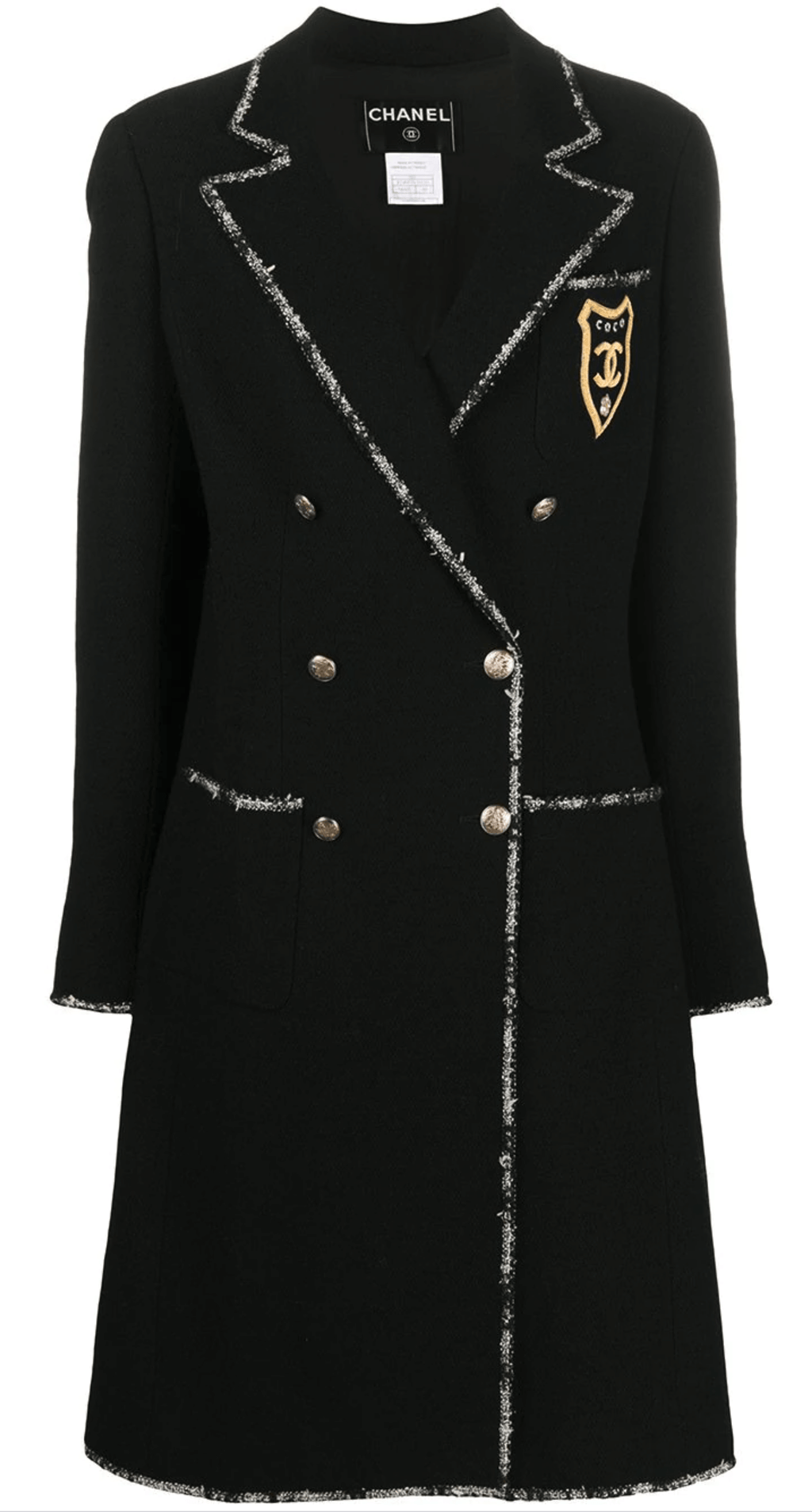 chanel coat, with badge, CC logo in black wool.