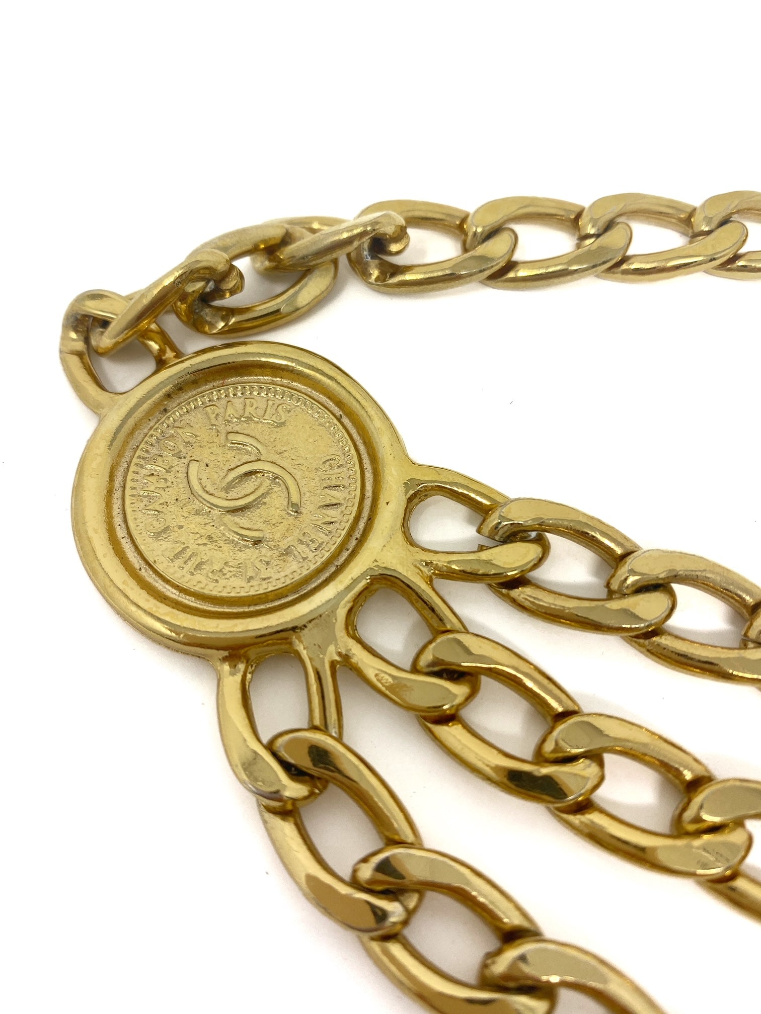 chanel gold chain belt, CC logo, medaillon