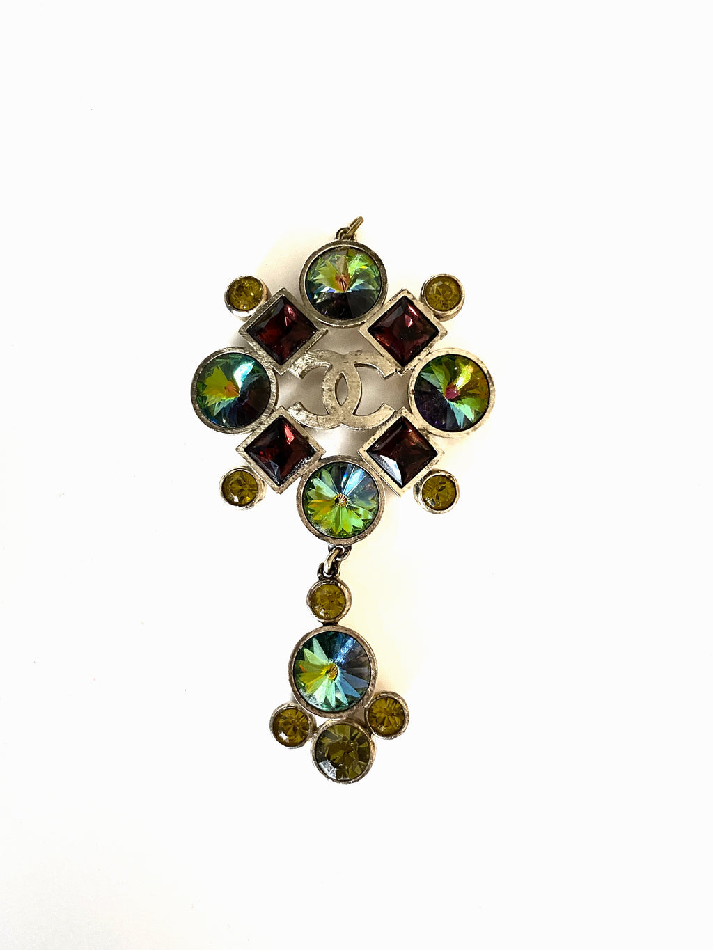chanel pendant with CC logo, multi stones , red green and yellow stones, silver tone hardware