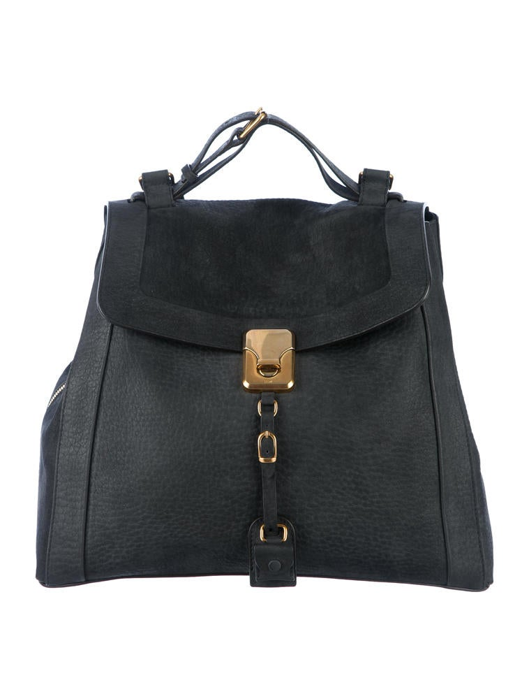chloe darla bag, black brushed leather, with gold hardware and zip on the side