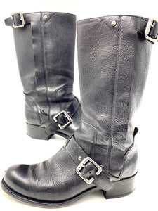 dior biker boots, black leather, mid-calf, with buckle, size 39.5