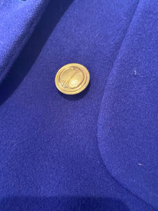 dior blue coat, wool, full length, with CD buttons in gold.