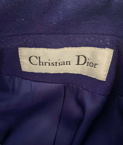 dior blue coat with CD buttons by maison vivienne