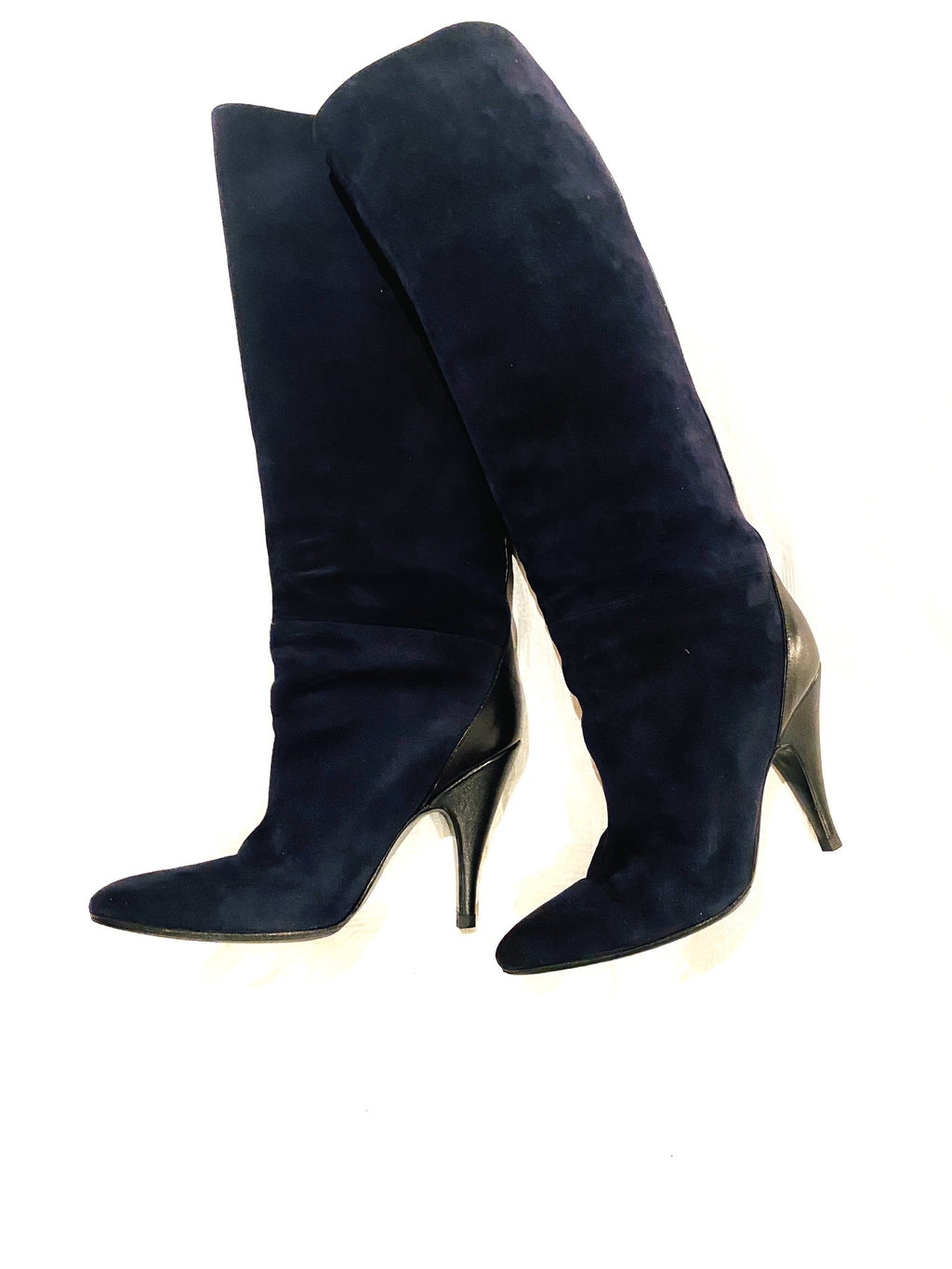 Hermes suede boots, dark blue, black leather band, with high heels, size 40