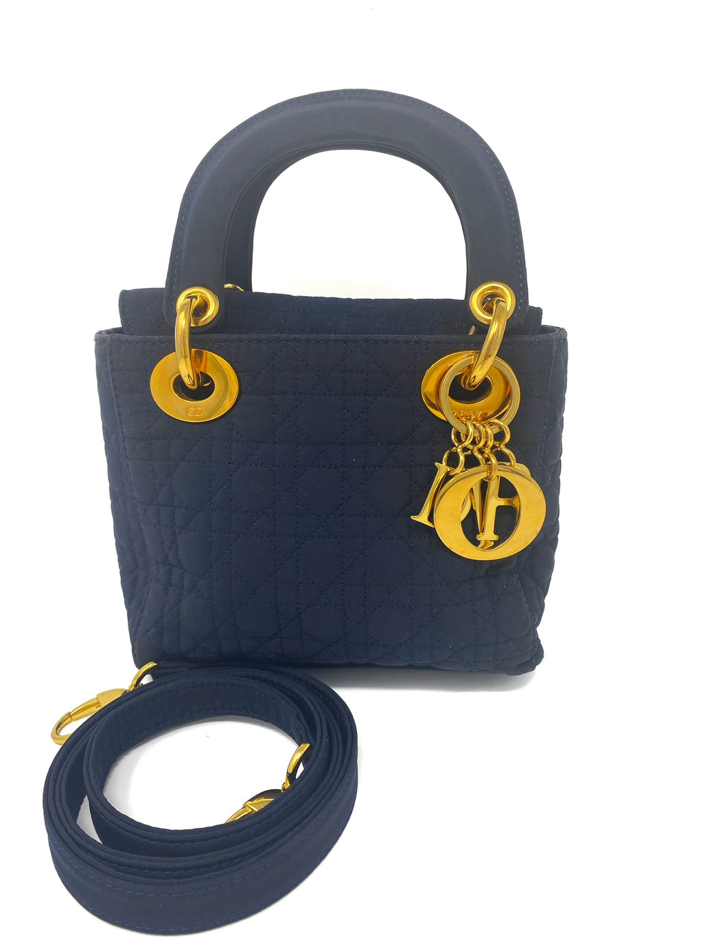 Lady dior mini bag, in navy blue with strap