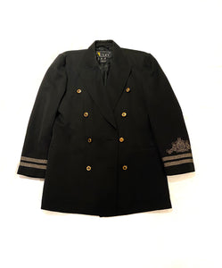 Laurel Escada jacket, vintage, black with gold buttons, military style