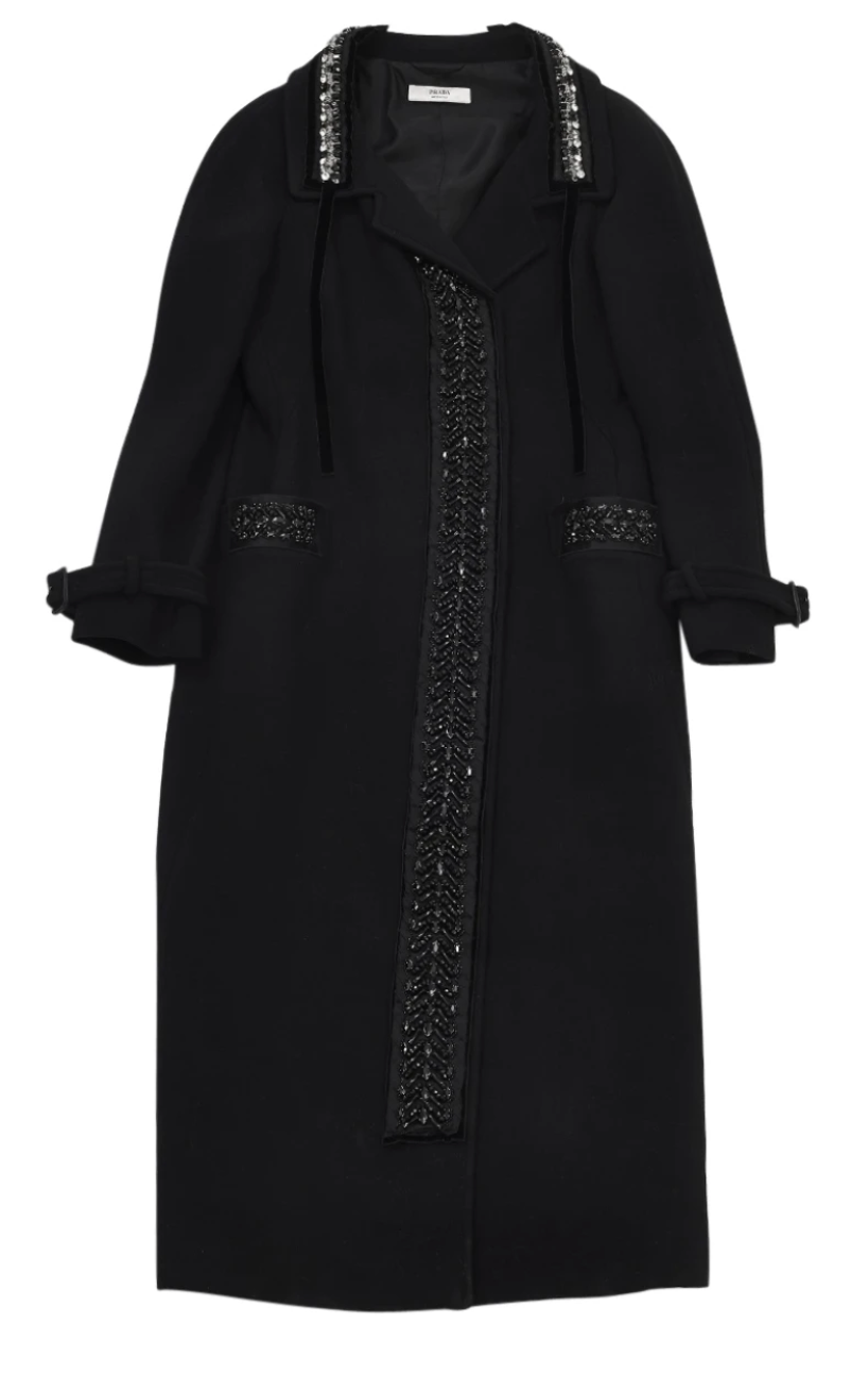 prada black coat, wool with jewellery, size 38.